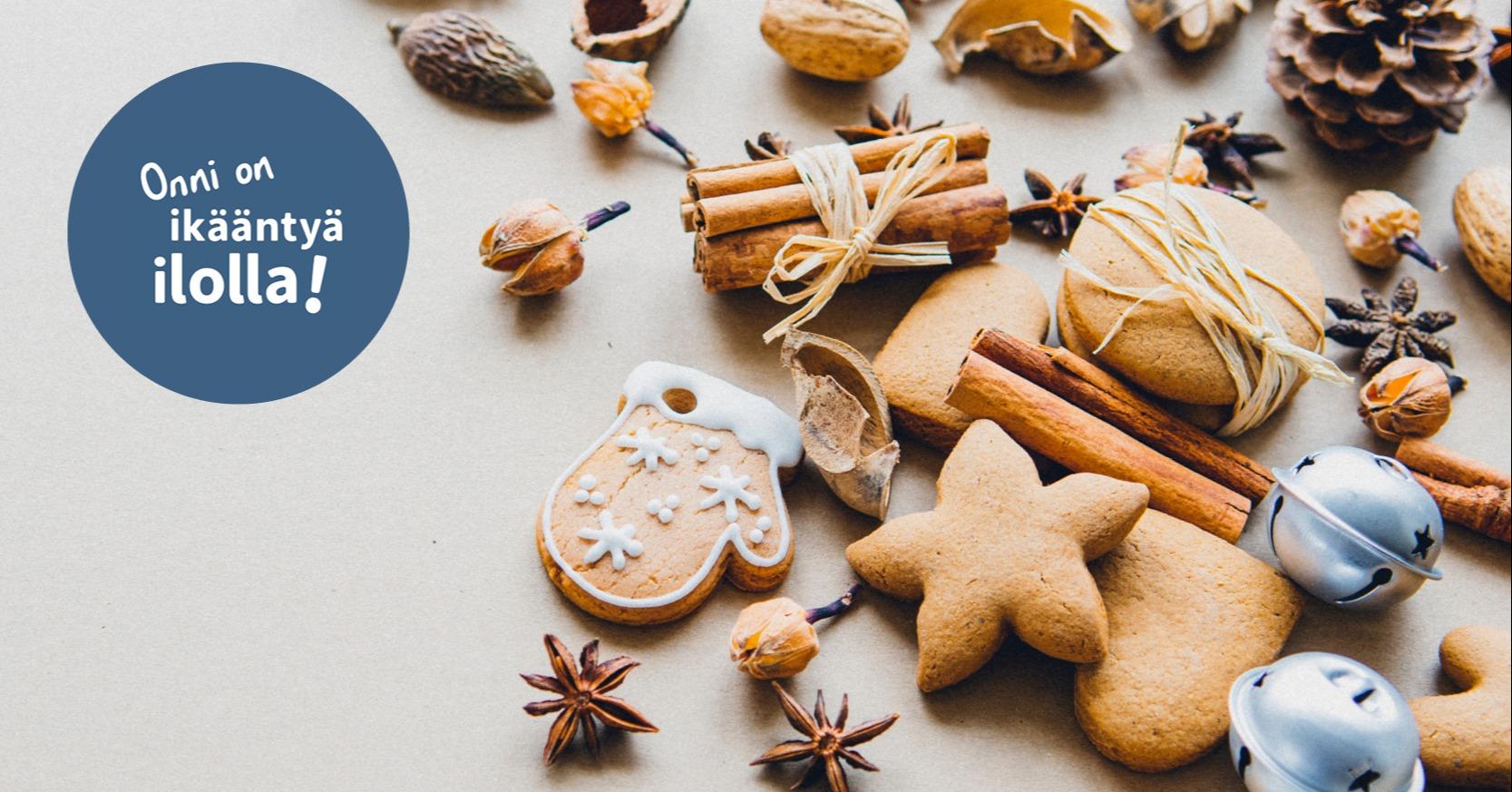 Kuvassa jouluisia mausteita ja logo jossa lukee Onni on ikääntyä ilolla!