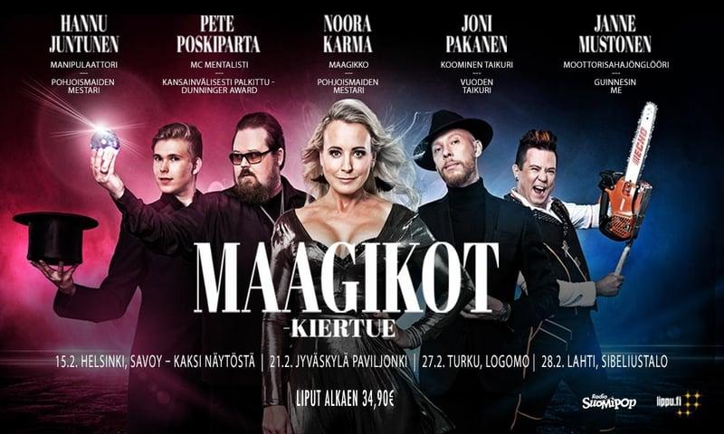 Kuvassa esityksessä esiintyvät taiteilijat Hannu Juntunen, Pete Poskiparta, Noora Karma, Joni Pakanen ja Janne Mustonen.